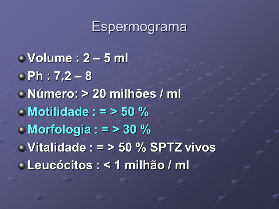 Espermograma Volume : 2 – 5 ml Ph : 7,2 – 8