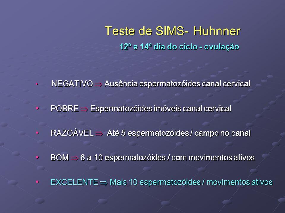 Teste de SIMS- Huhnner 12º e 14º dia do ciclo - ovulação