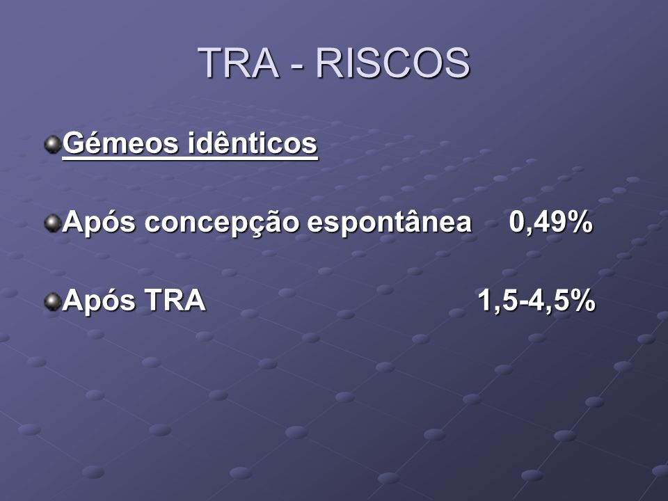 TRA - RISCOS Gémeos idênticos Após concepção espontânea 0,49%