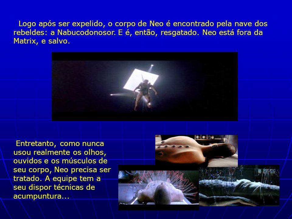 Logo após ser expelido, o corpo de Neo é encontrado pela nave dos rebeldes: a Nabucodonosor. E é, então, resgatado. Neo está fora da Matrix, e salvo.