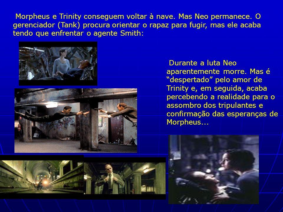 Morpheus e Trinity conseguem voltar à nave. Mas Neo permanece