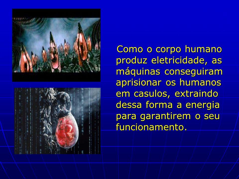 Como o corpo humano produz eletricidade, as máquinas conseguiram aprisionar os humanos em casulos, extraindo dessa forma a energia para garantirem o seu funcionamento.