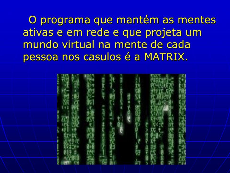O programa que mantém as mentes ativas e em rede e que projeta um mundo virtual na mente de cada pessoa nos casulos é a MATRIX.