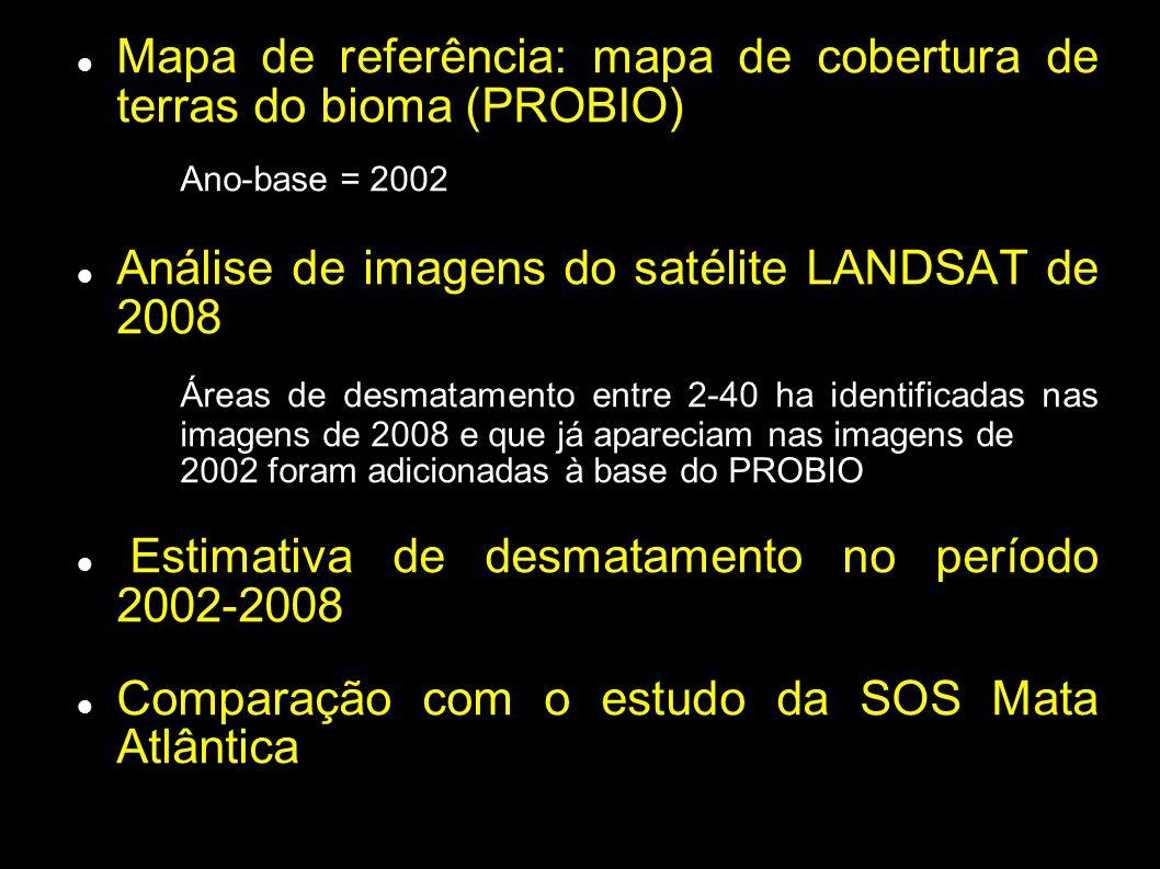 Mapa de referência: mapa de cobertura de terras do bioma (PROBIO)