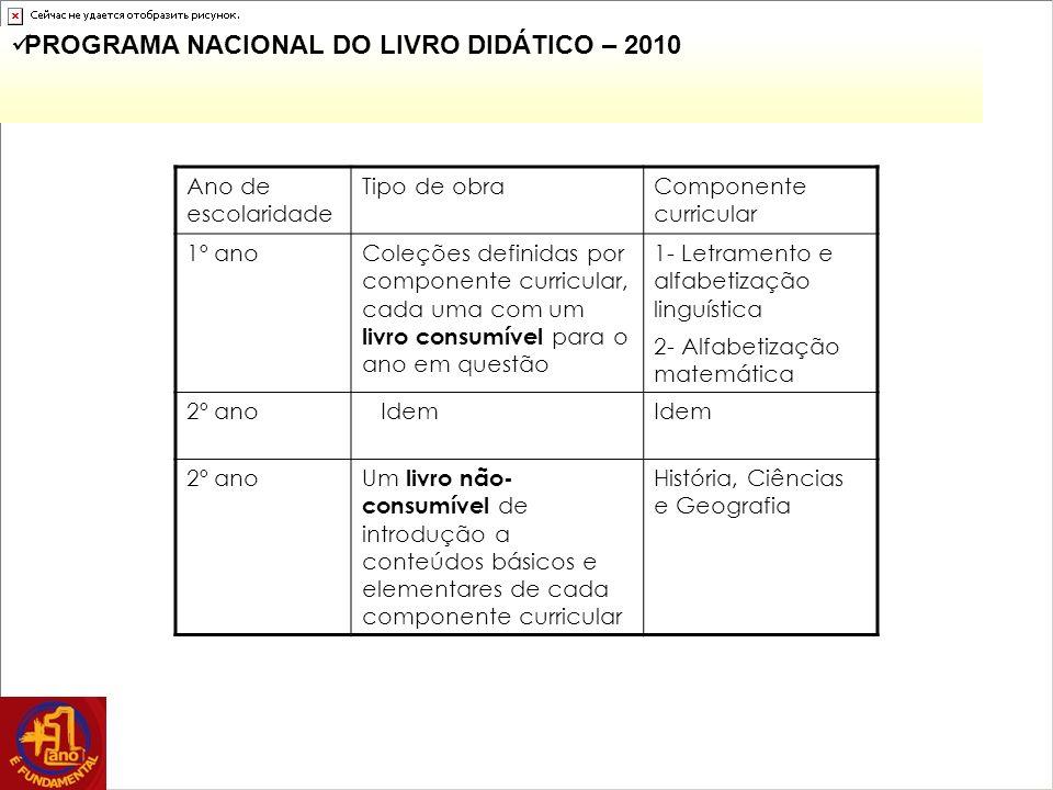 PROGRAMA NACIONAL DO LIVRO DIDÁTICO – 2010