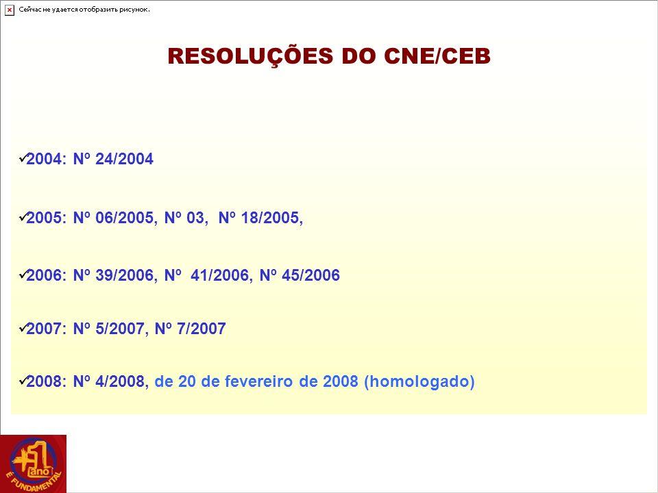 RESOLUÇÕES DO CNE/CEB 2004: Nº 24/2004