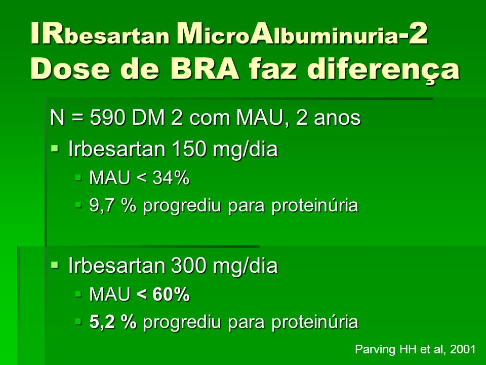 IRbesartan MicroAlbuminuria-2 Dose de BRA faz diferença