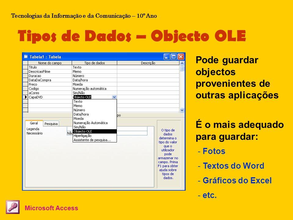 Tipos de Dados – Objecto OLE