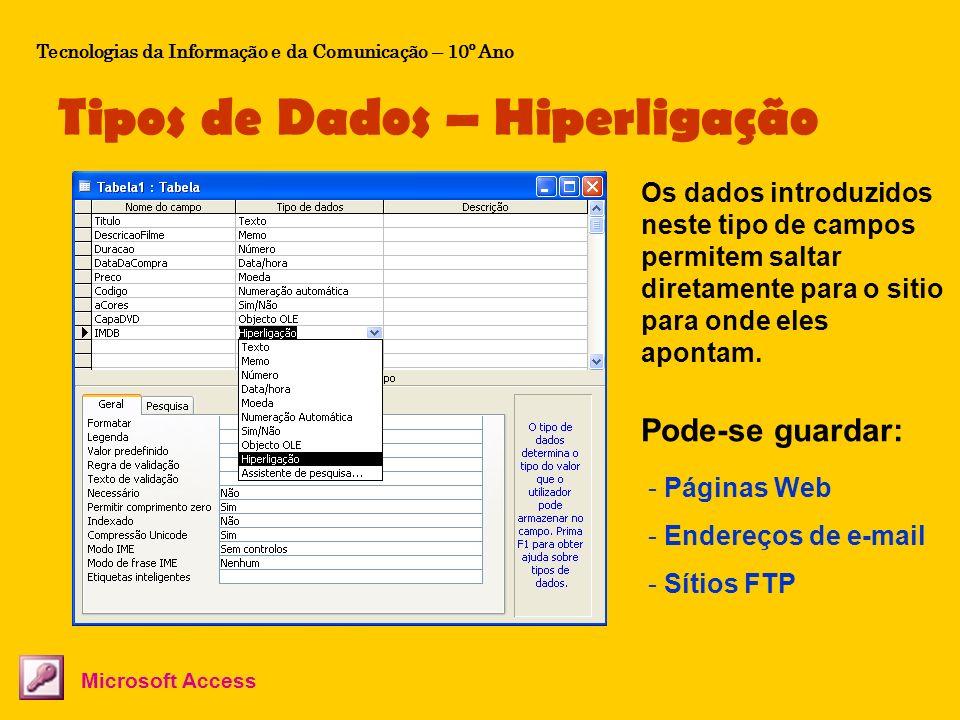 Tipos de Dados – Hiperligação