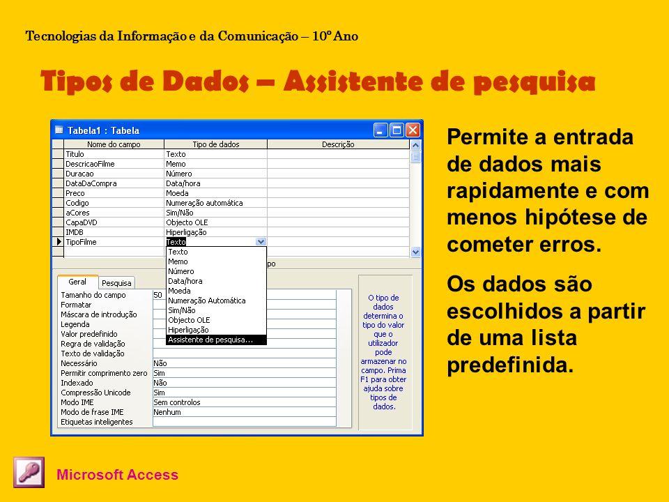 Tipos de Dados – Assistente de pesquisa