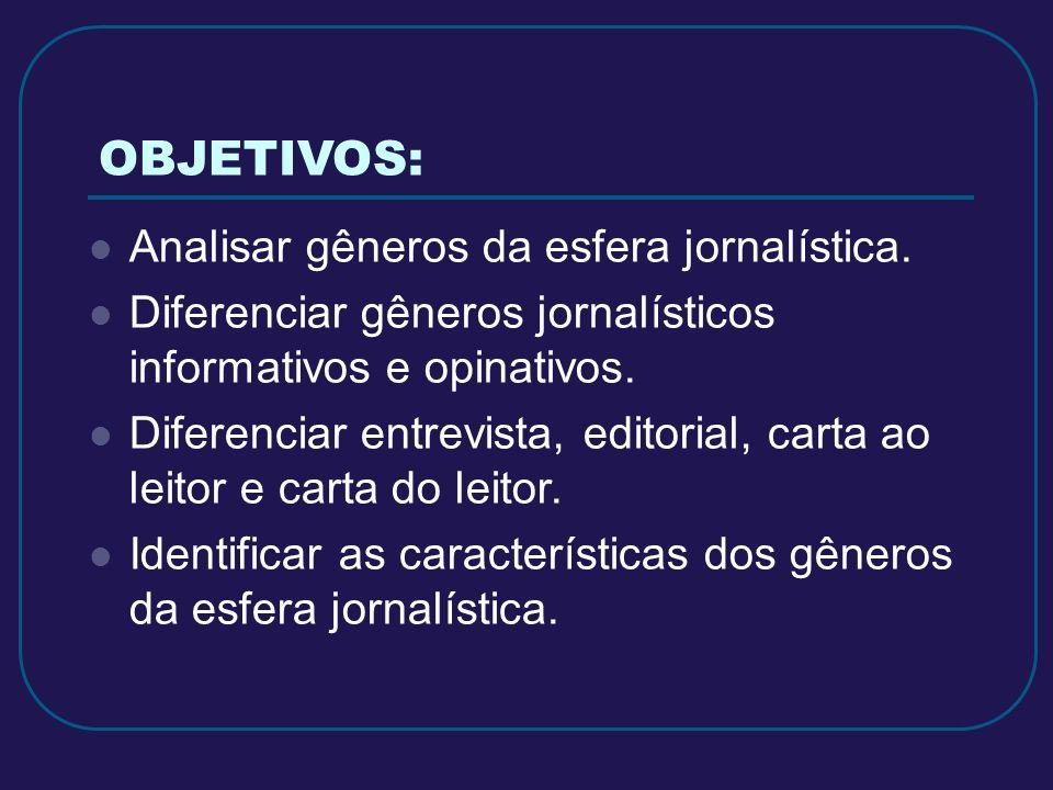 OBJETIVOS: Analisar gêneros da esfera jornalística.