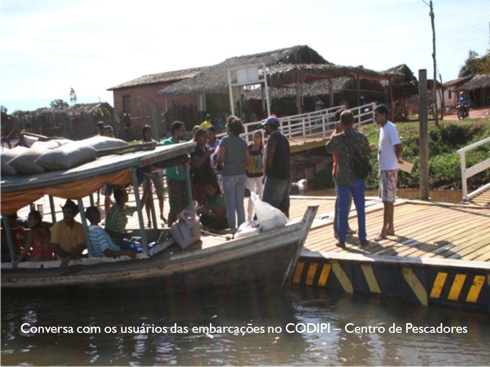 Conversa com os usuários das embarcações no CODIPI – Centro de Pescadores