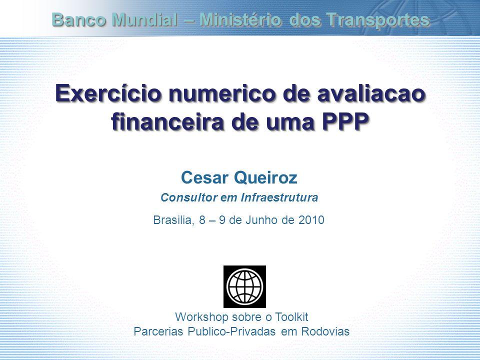 Exercício numerico de avaliacao financeira de uma PPP
