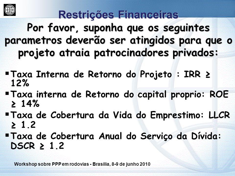 Restrições Financeiras Por favor, suponha que os seguintes parametros deverão ser atingidos para que o projeto atraia patrocinadores privados: