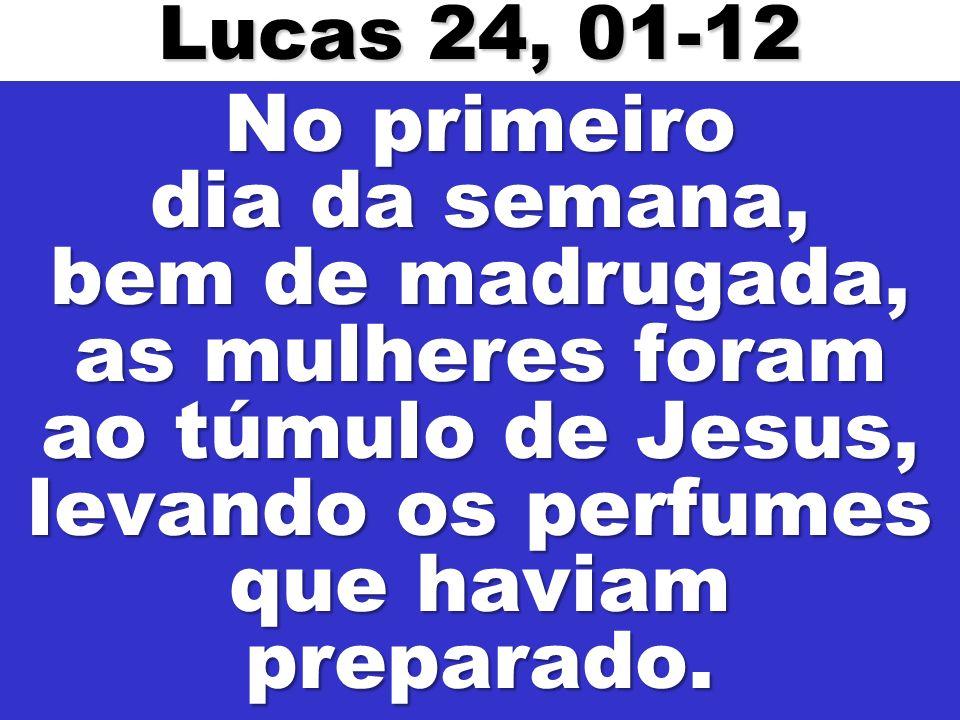 Lucas 24, 01-12 No primeiro dia da semana, bem de madrugada, as mulheres foram ao túmulo de Jesus, levando os perfumes que haviam preparado.