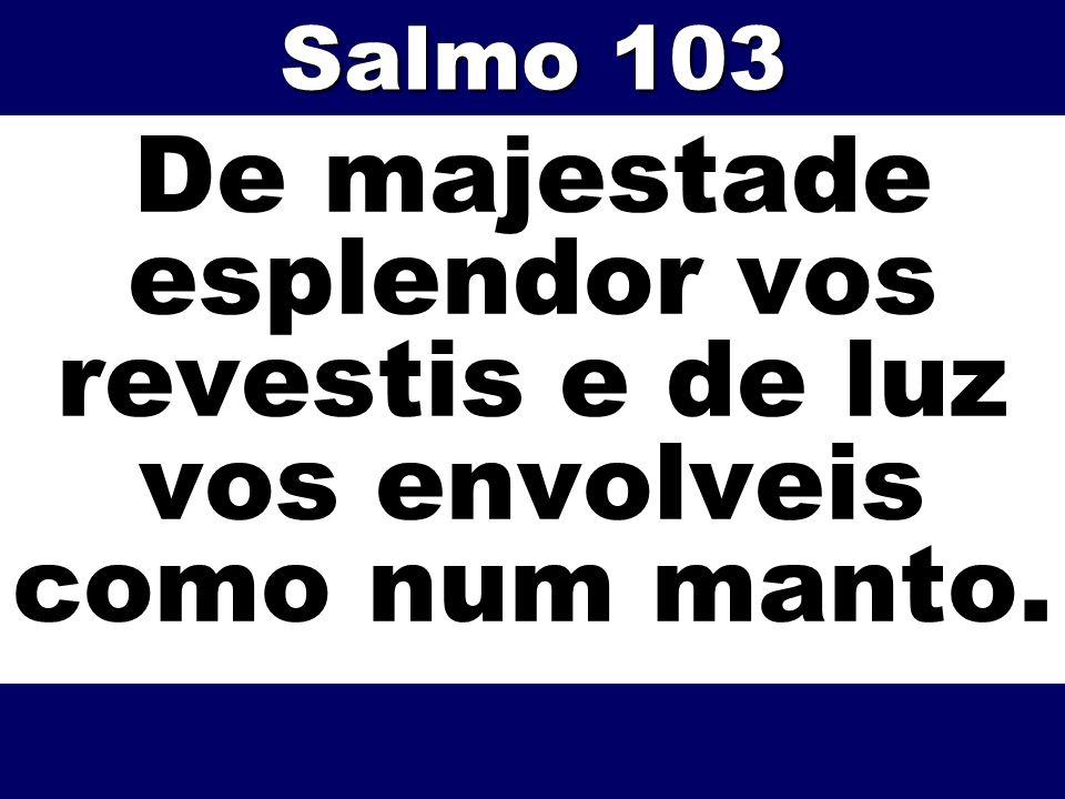 Salmo 103 De majestade esplendor vos revestis e de luz vos envolveis como num manto.