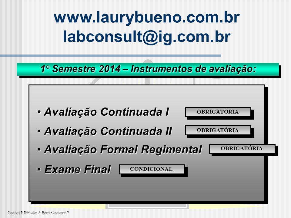 1° Semestre 2014 – Instrumentos de avaliação: