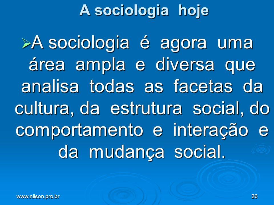 A sociologia hoje