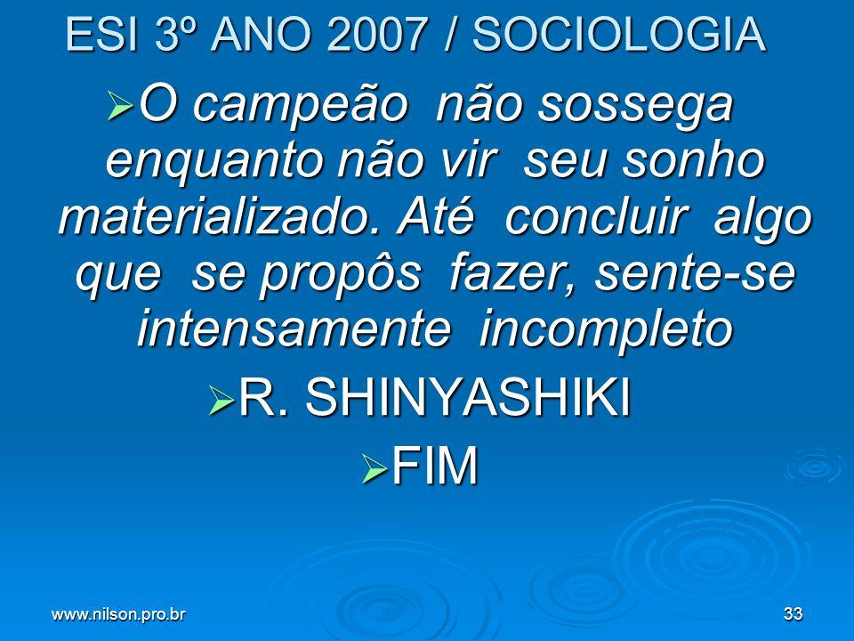 ESI 3º ANO 2007 / SOCIOLOGIA