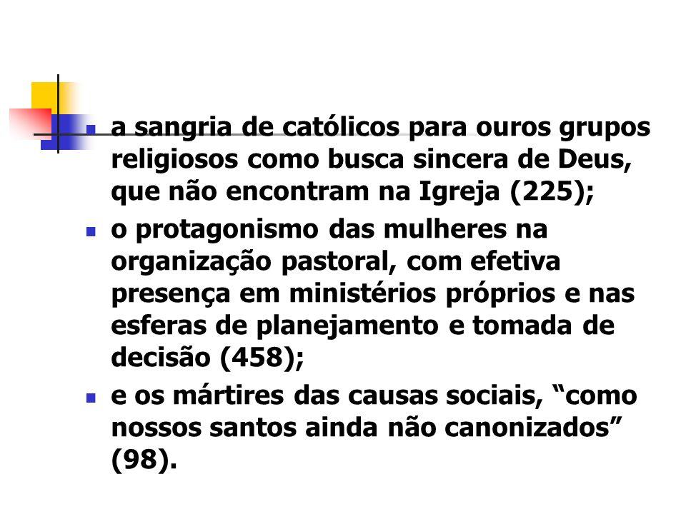 a sangria de católicos para ouros grupos religiosos como busca sincera de Deus, que não encontram na Igreja (225);