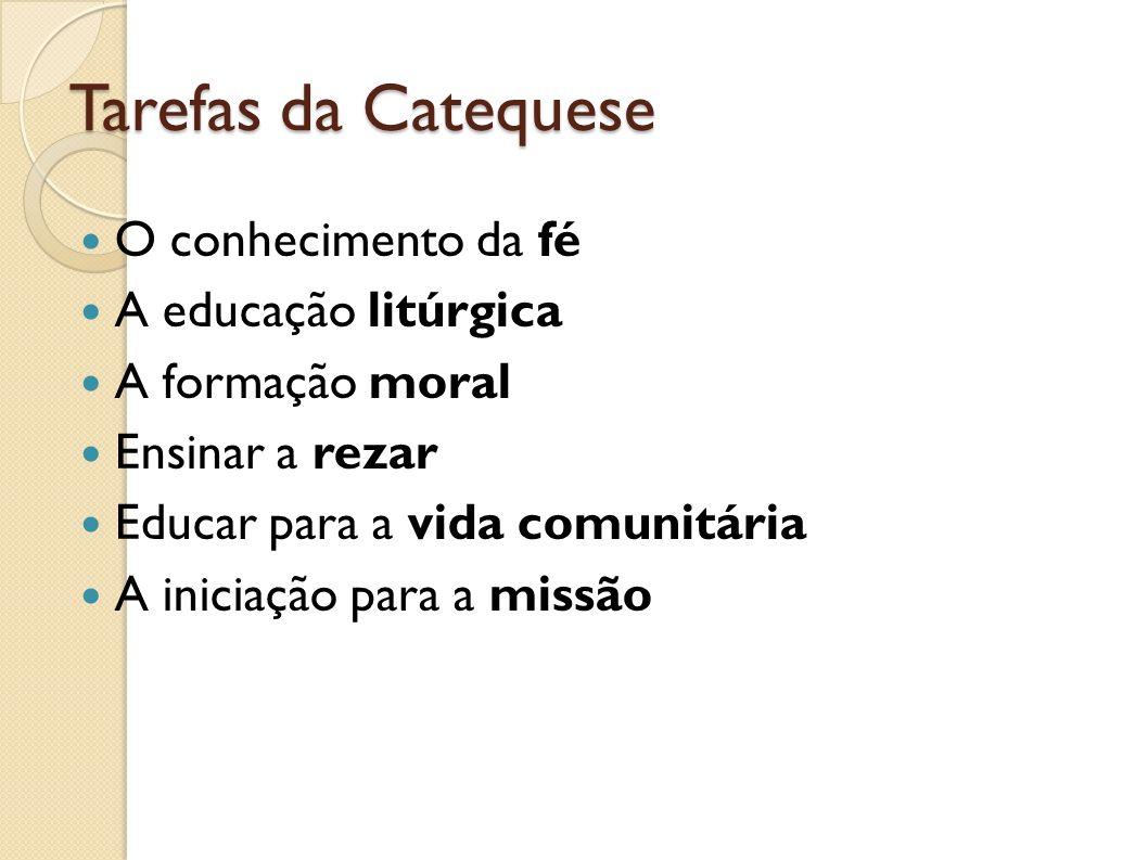 Tarefas da Catequese O conhecimento da fé A educação litúrgica