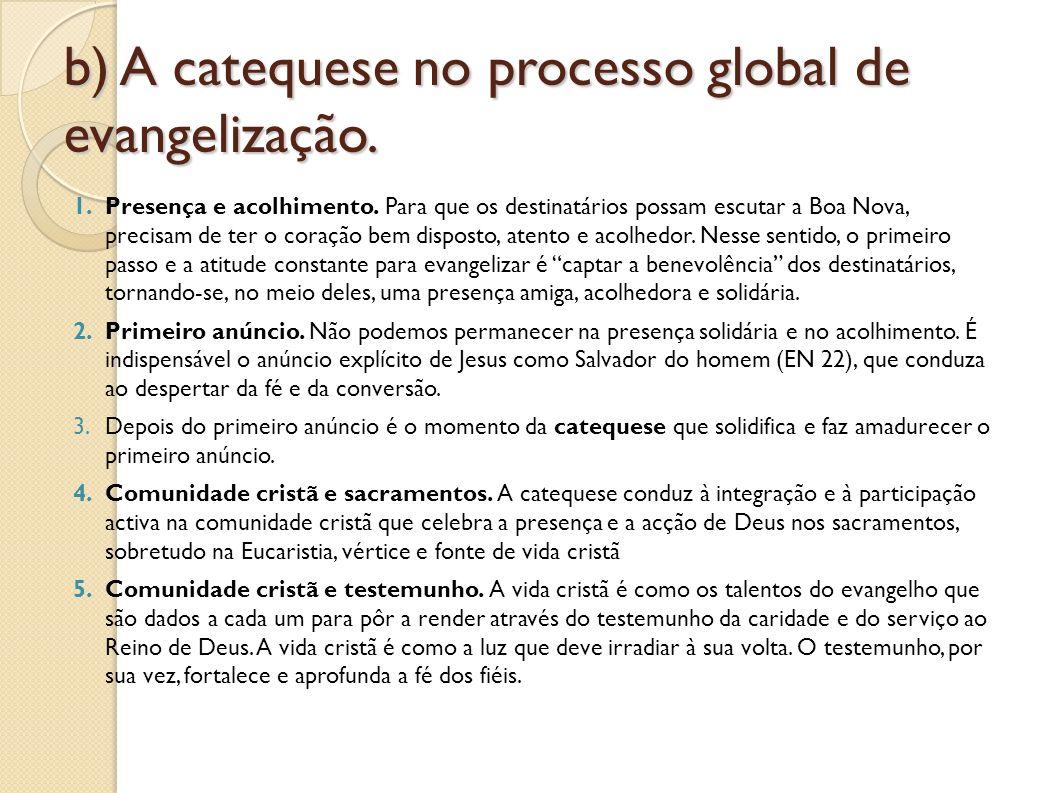 b) A catequese no processo global de evangelização.