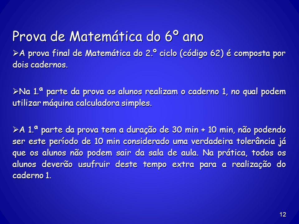 Prova de Matemática do 6º ano