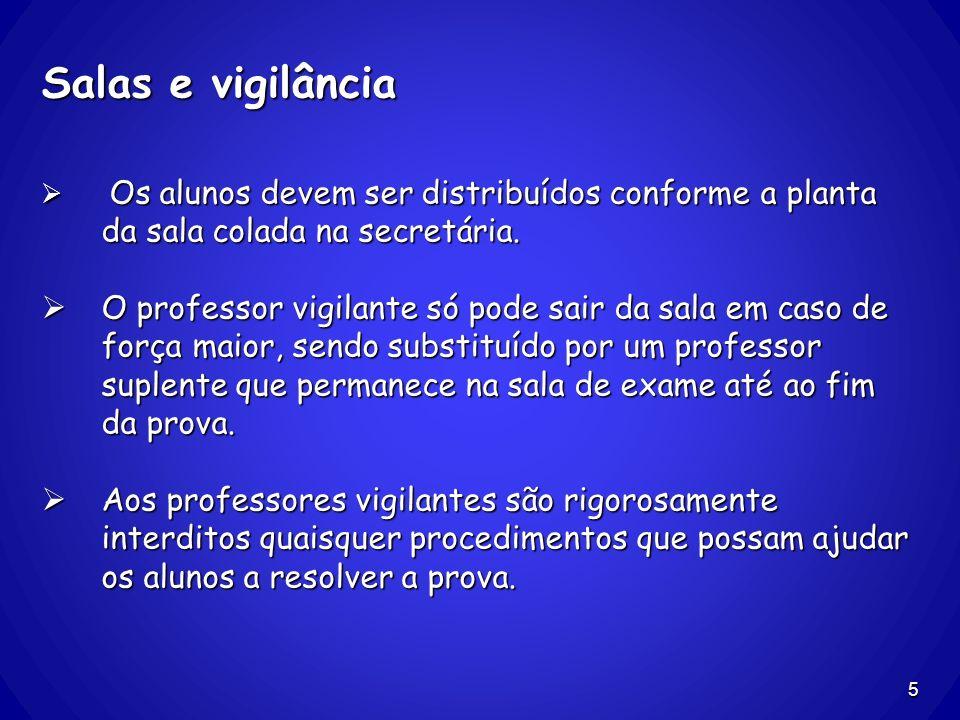 Salas e vigilância Os alunos devem ser distribuídos conforme a planta da sala colada na secretária.