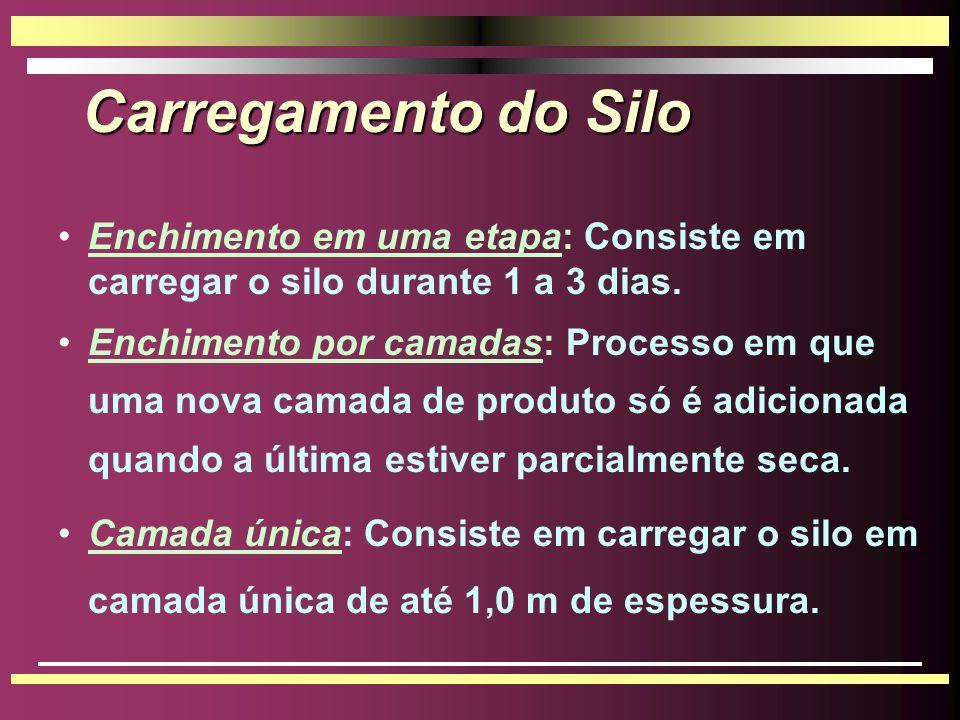 Carregamento do Silo Enchimento em uma etapa: Consiste em carregar o silo durante 1 a 3 dias.