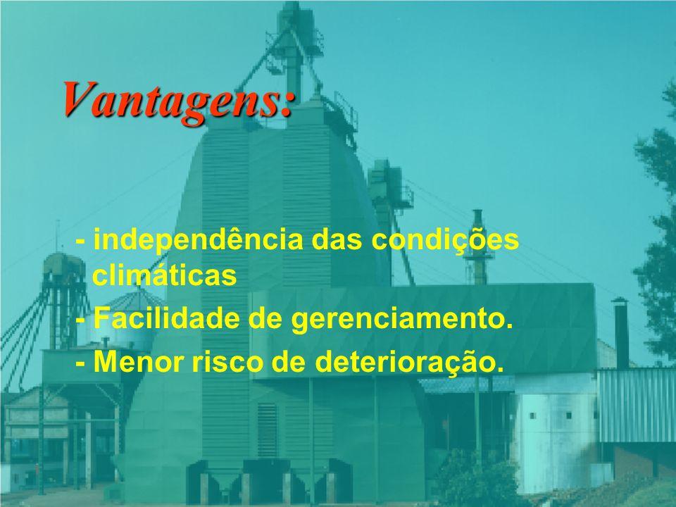 Vantagens: - independência das condições climáticas