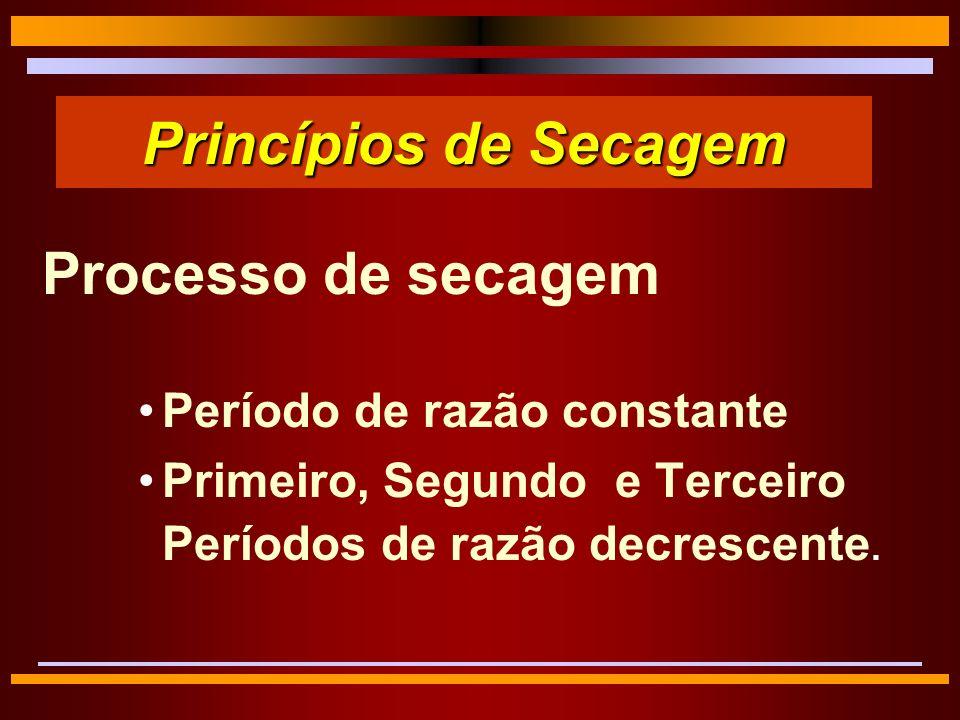 Princípios de Secagem Processo de secagem Período de razão constante