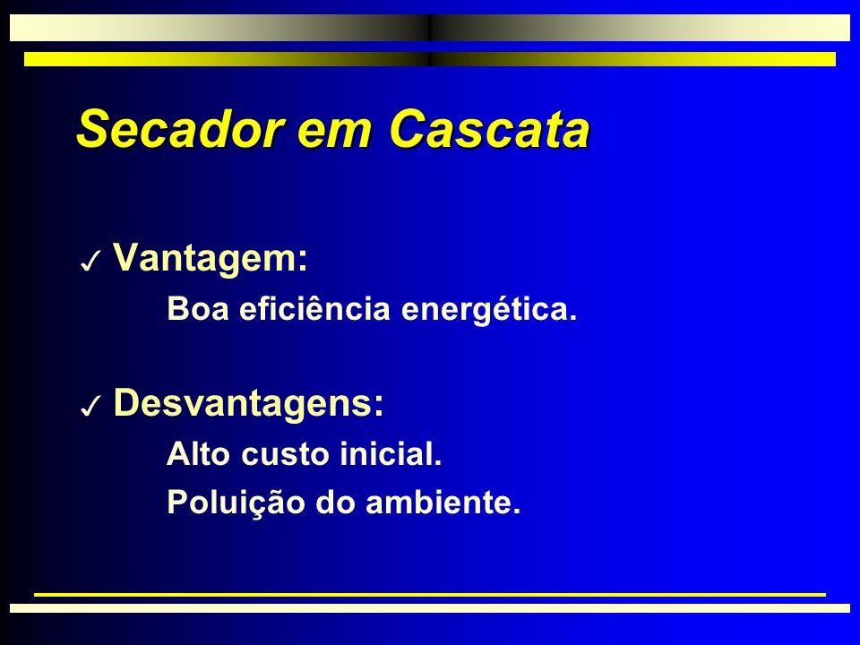 Secador em Cascata Vantagem: Desvantagens: Boa eficiência energética.
