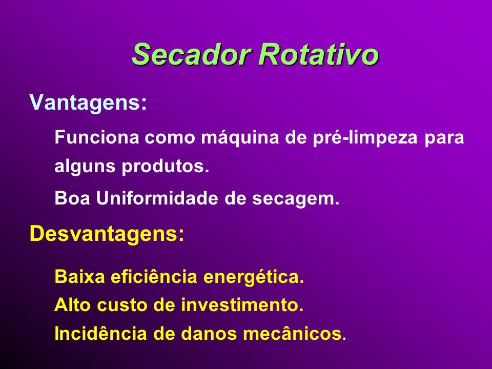 Secador Rotativo Vantagens: Desvantagens: