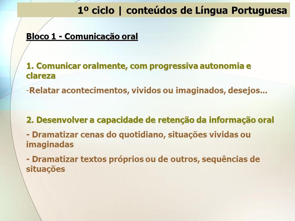 1º ciclo | conteúdos de Língua Portuguesa
