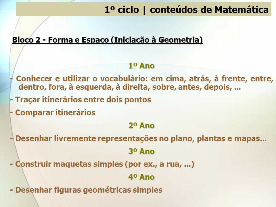1º ciclo | conteúdos de Matemática