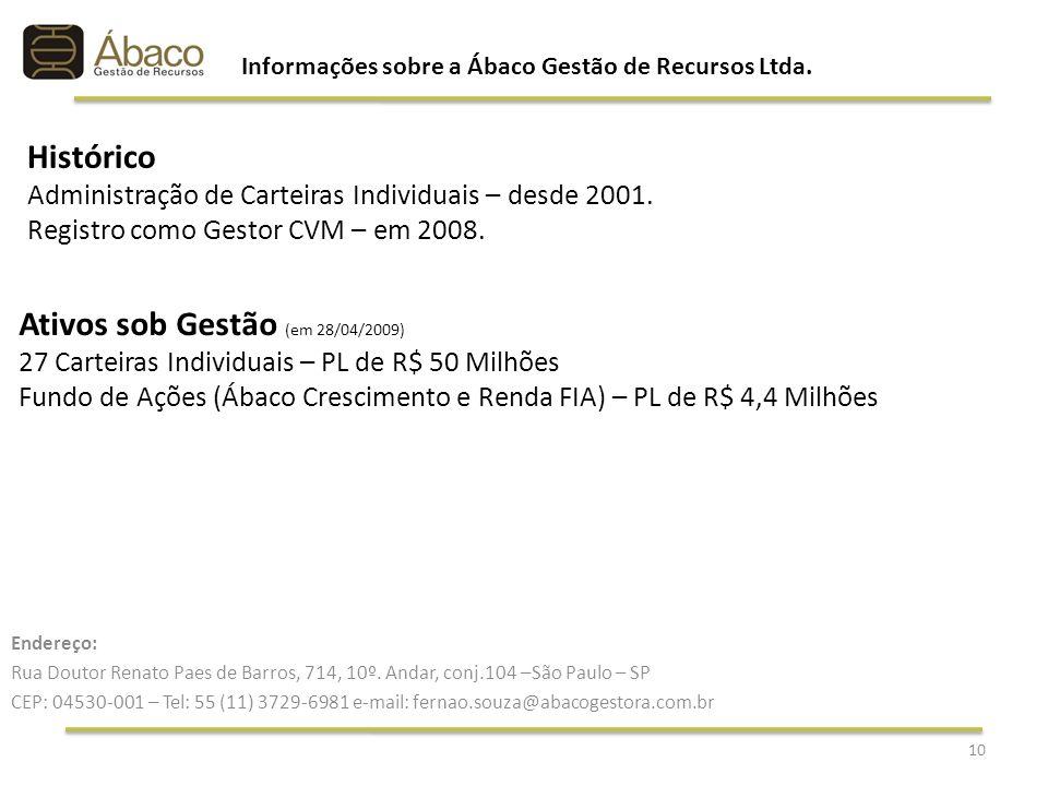 Informações sobre a Ábaco Gestão de Recursos Ltda.