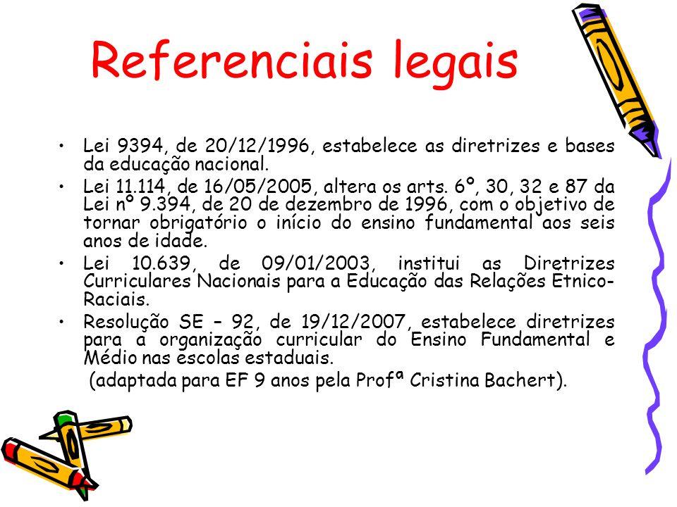 Referenciais legais Lei 9394, de 20/12/1996, estabelece as diretrizes e bases da educação nacional.