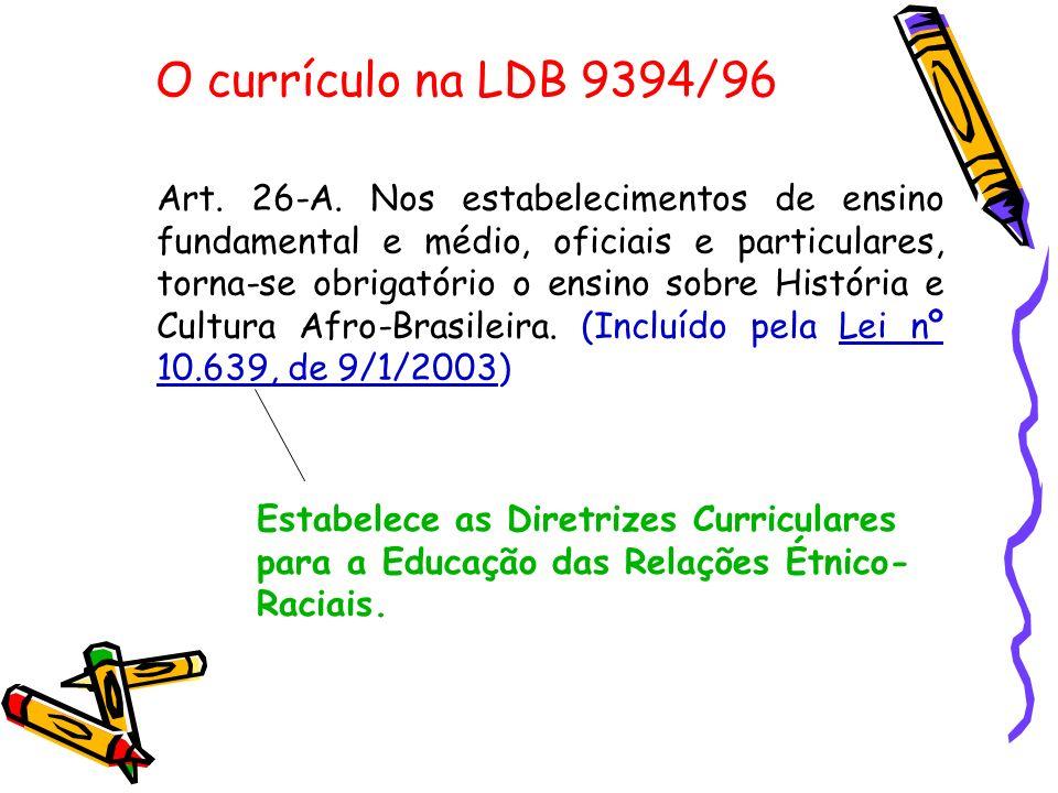 O currículo na LDB 9394/96