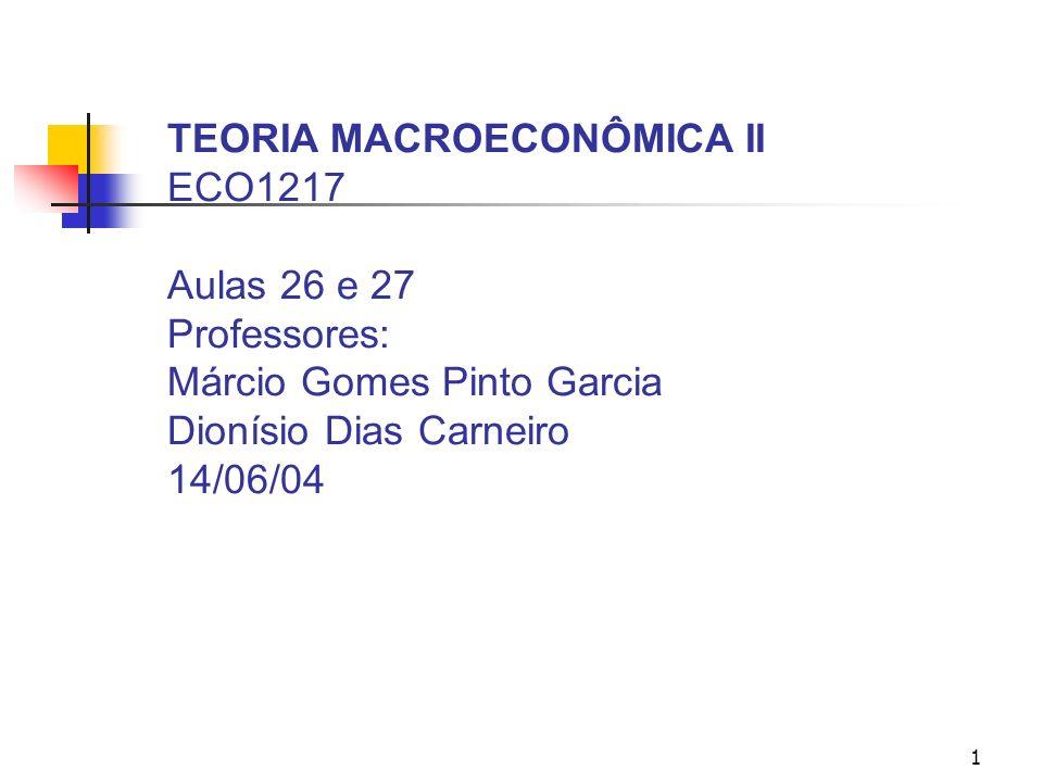 TEORIA MACROECONÔMICA II ECO1217 Aulas 26 e 27 Professores: Márcio Gomes Pinto Garcia Dionísio Dias Carneiro 14/06/04