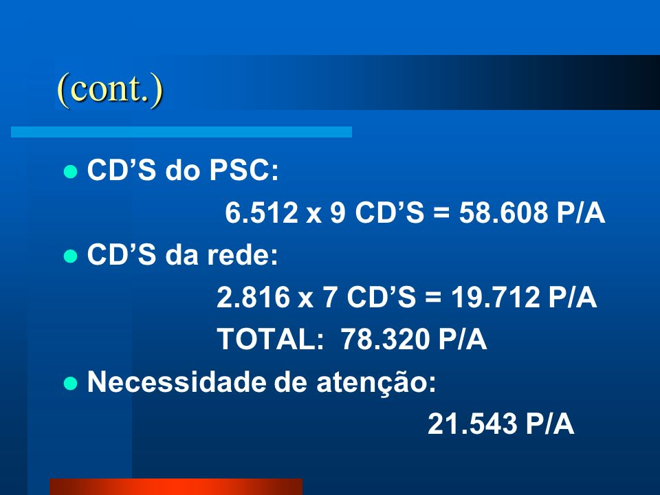 (cont.) CD'S do PSC: 6.512 x 9 CD'S = 58.608 P/A CD'S da rede:
