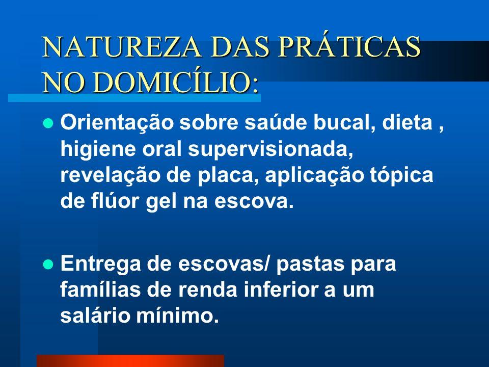 NATUREZA DAS PRÁTICAS NO DOMICÍLIO: