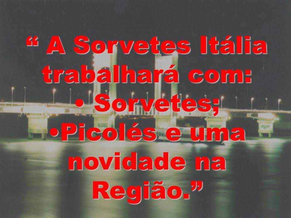 A Sorvetes Itália trabalhará com: Picolés e uma novidade na Região.