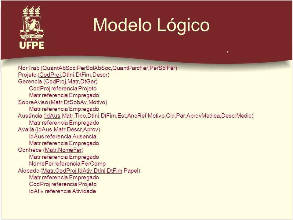 Modelo Lógico NorTrab (QuantAbSoc,PerSolAbSoc,QuantParcFer,PerSolFer)