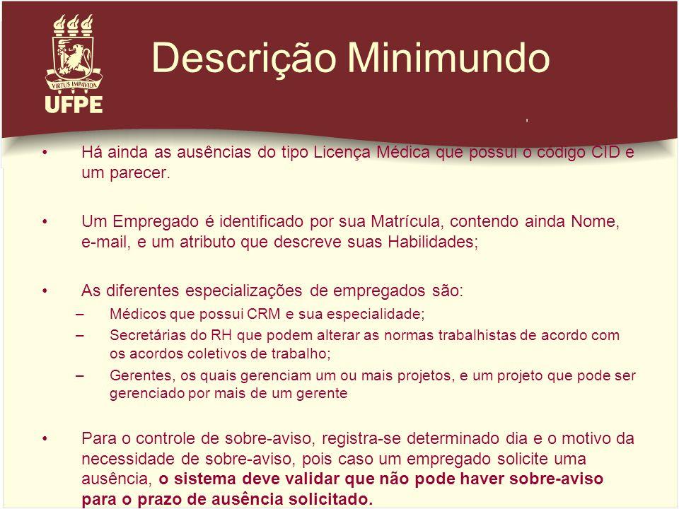 Descrição Minimundo Há ainda as ausências do tipo Licença Médica que possui o código CID e um parecer.