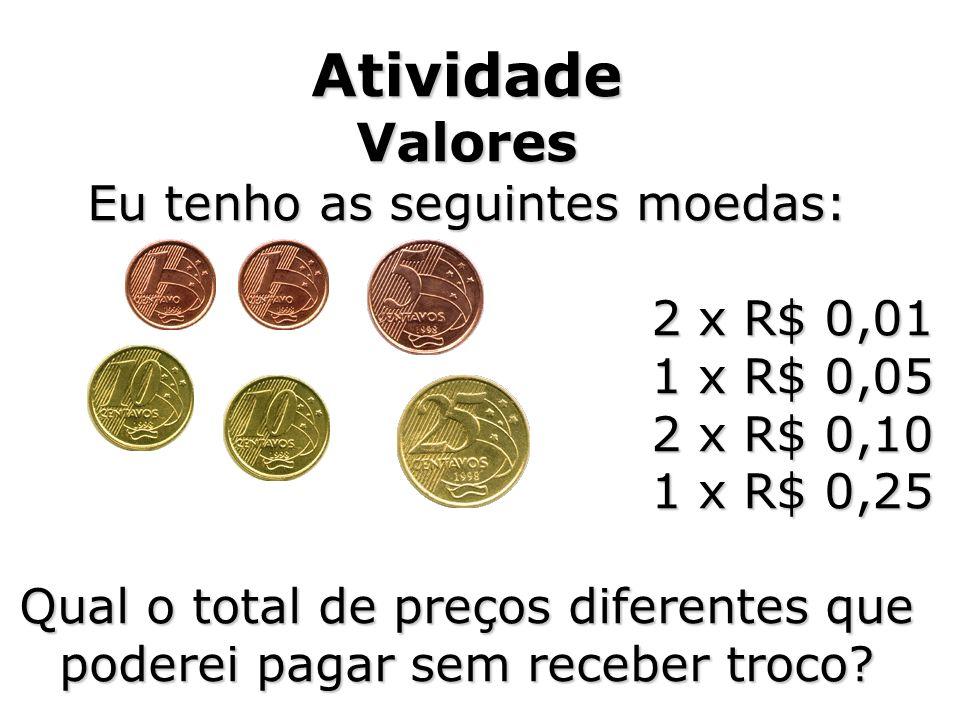 Atividade Valores Eu tenho as seguintes moedas: 2 x R$ 0,01