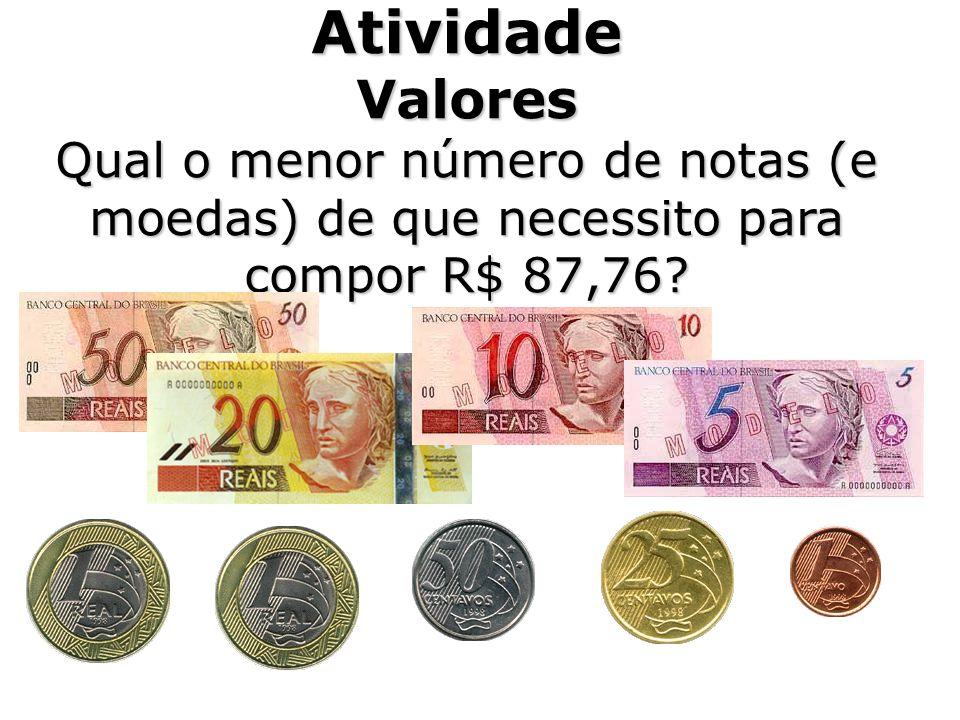 Atividade Valores Qual o menor número de notas (e moedas) de que necessito para compor R$ 87,76