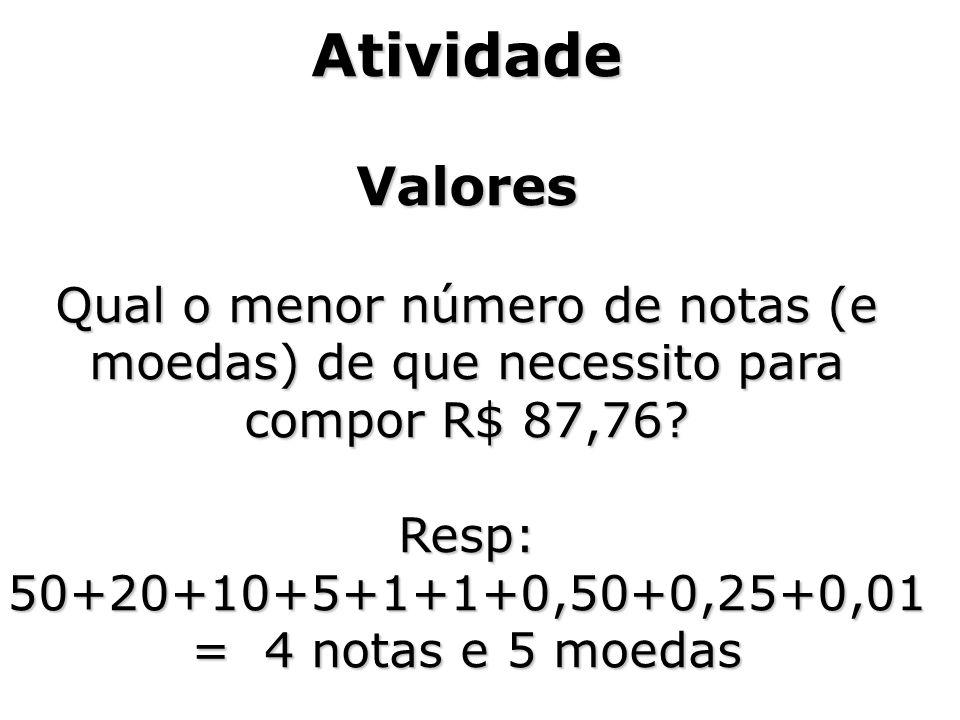 Resp: 50+20+10+5+1+1+0,50+0,25+0,01 = 4 notas e 5 moedas