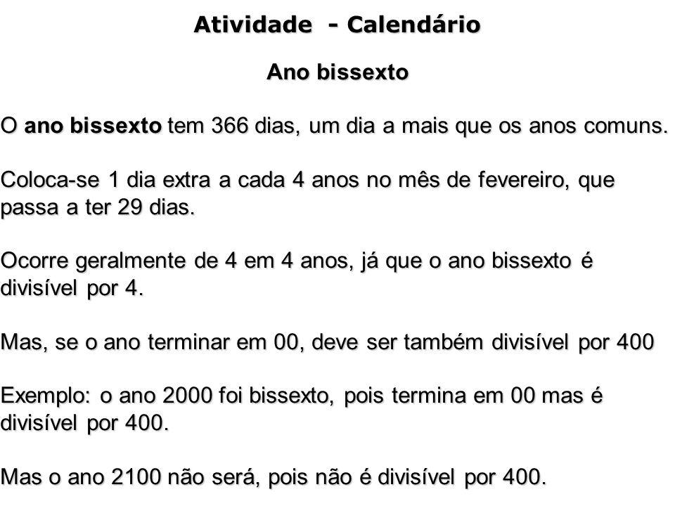 Atividade - Calendário
