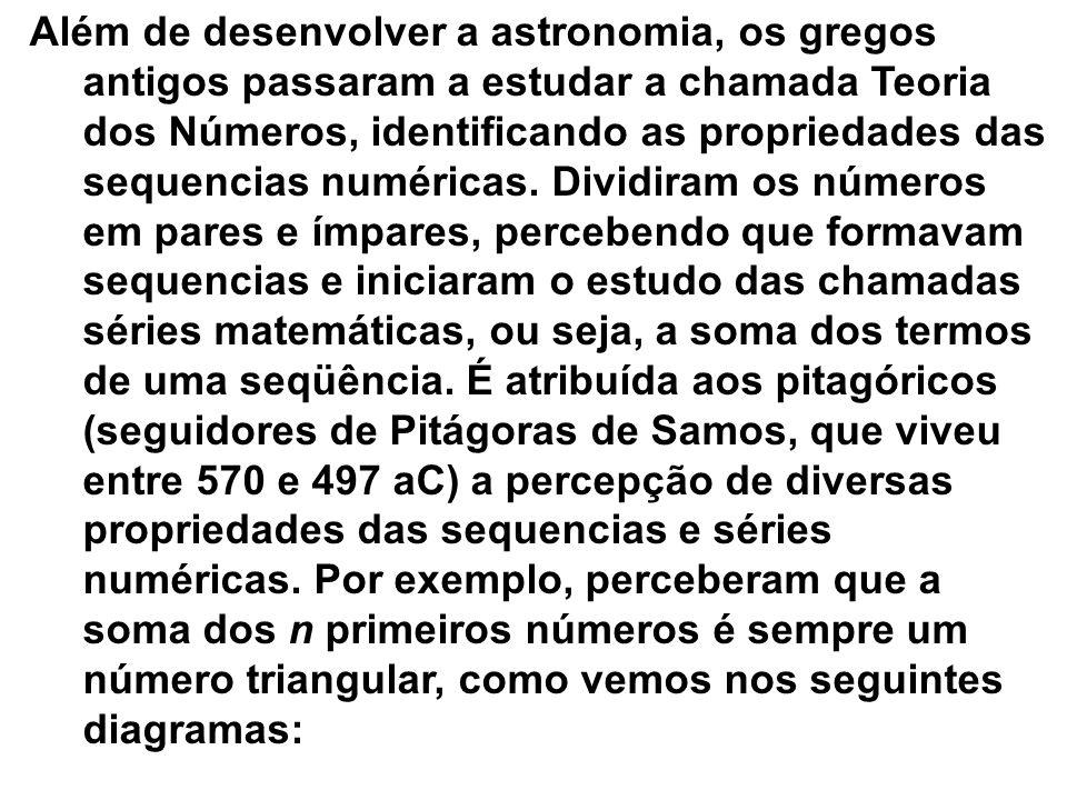 Além de desenvolver a astronomia, os gregos antigos passaram a estudar a chamada Teoria dos Números, identificando as propriedades das sequencias numéricas. Dividiram os números em pares e ímpares, percebendo que formavam sequencias e iniciaram o estudo das chamadas séries matemáticas, ou seja, a soma dos termos de uma seqüência. É atribuída aos pitagóricos (seguidores de Pitágoras de Samos, que viveu entre 570 e 497 aC) a percepção de diversas propriedades das sequencias e séries numéricas. Por exemplo, perceberam que a soma dos n primeiros números é sempre um número triangular, como vemos nos seguintes diagramas: