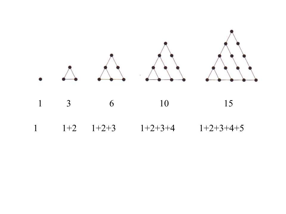 1 3 6 10 15. 1 1+2 1+2+3 1+2+3+4 1+2+3+4+5.